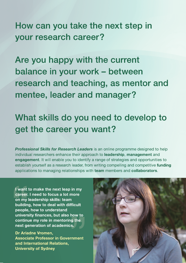 Professional Skills for Research Leaders Promotional Materials |