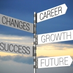 Career, changes, growth, success, future sign